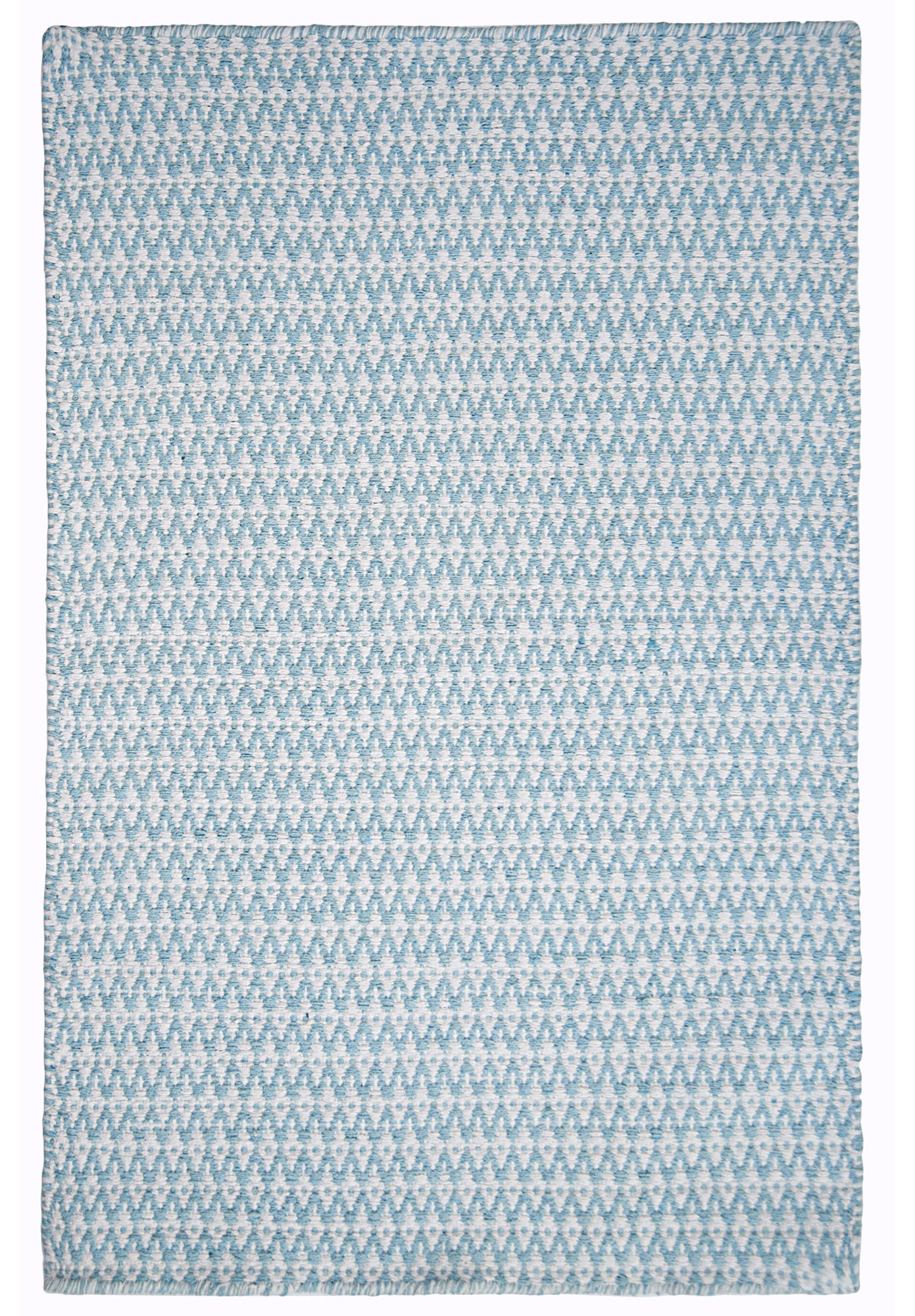 Ashley eco cotton rug light blue white hook loom for Blue and white carpet