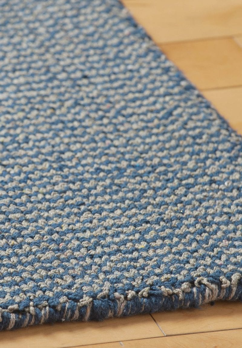 Crossweave Taupe Blue Eco Cotton Loom Hooked Rug