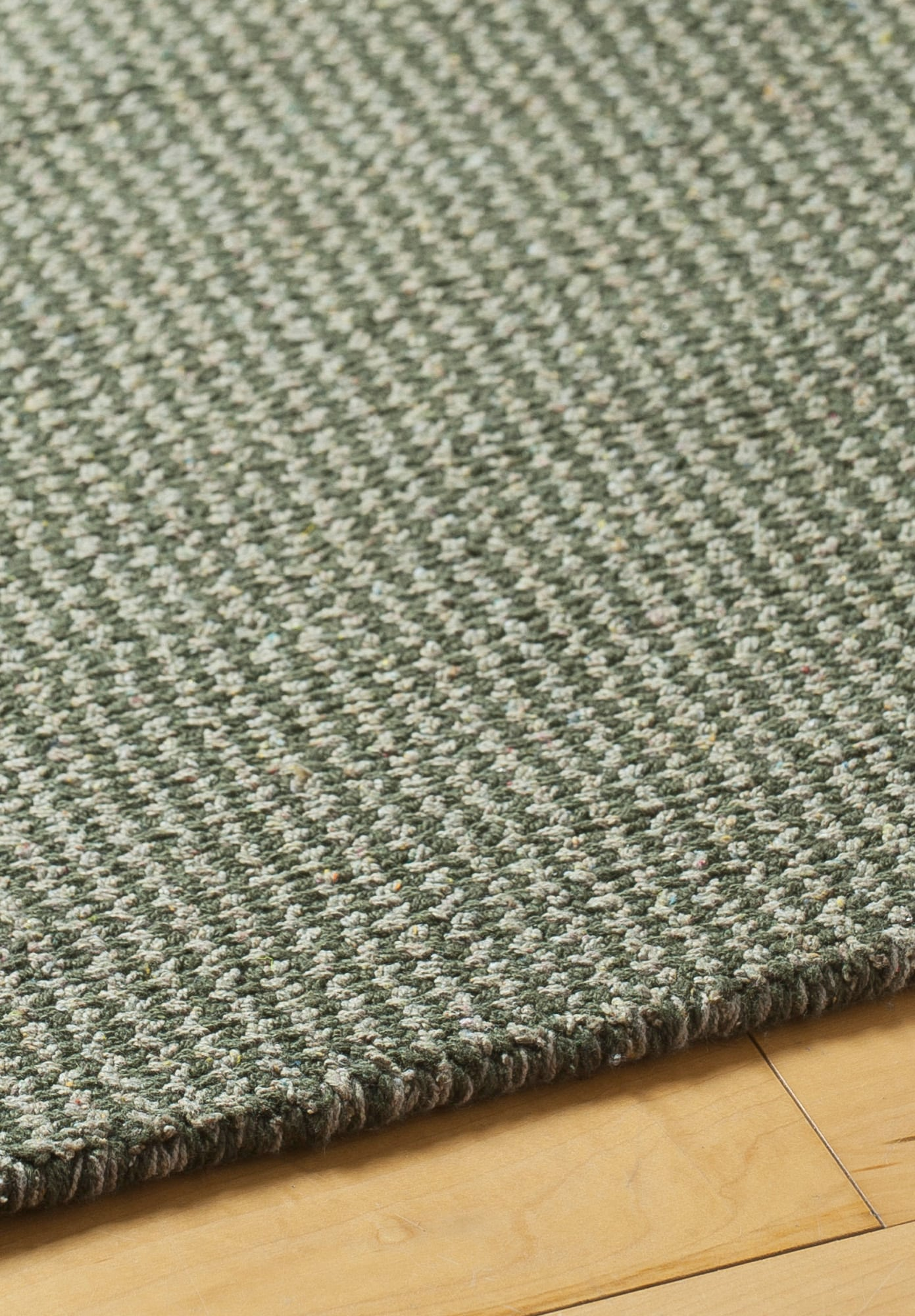 Crossweave Taupe Green Eco Cotton Loom Hooked Rug Hook
