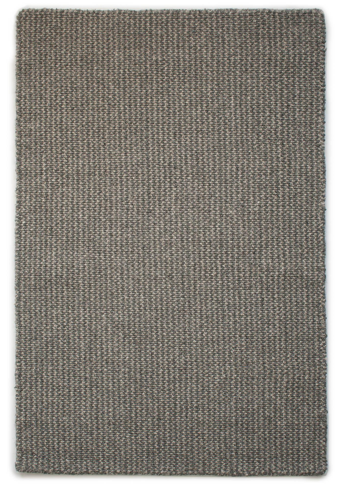 Crossweave Natural Wool Grey Loom Hooked Rug
