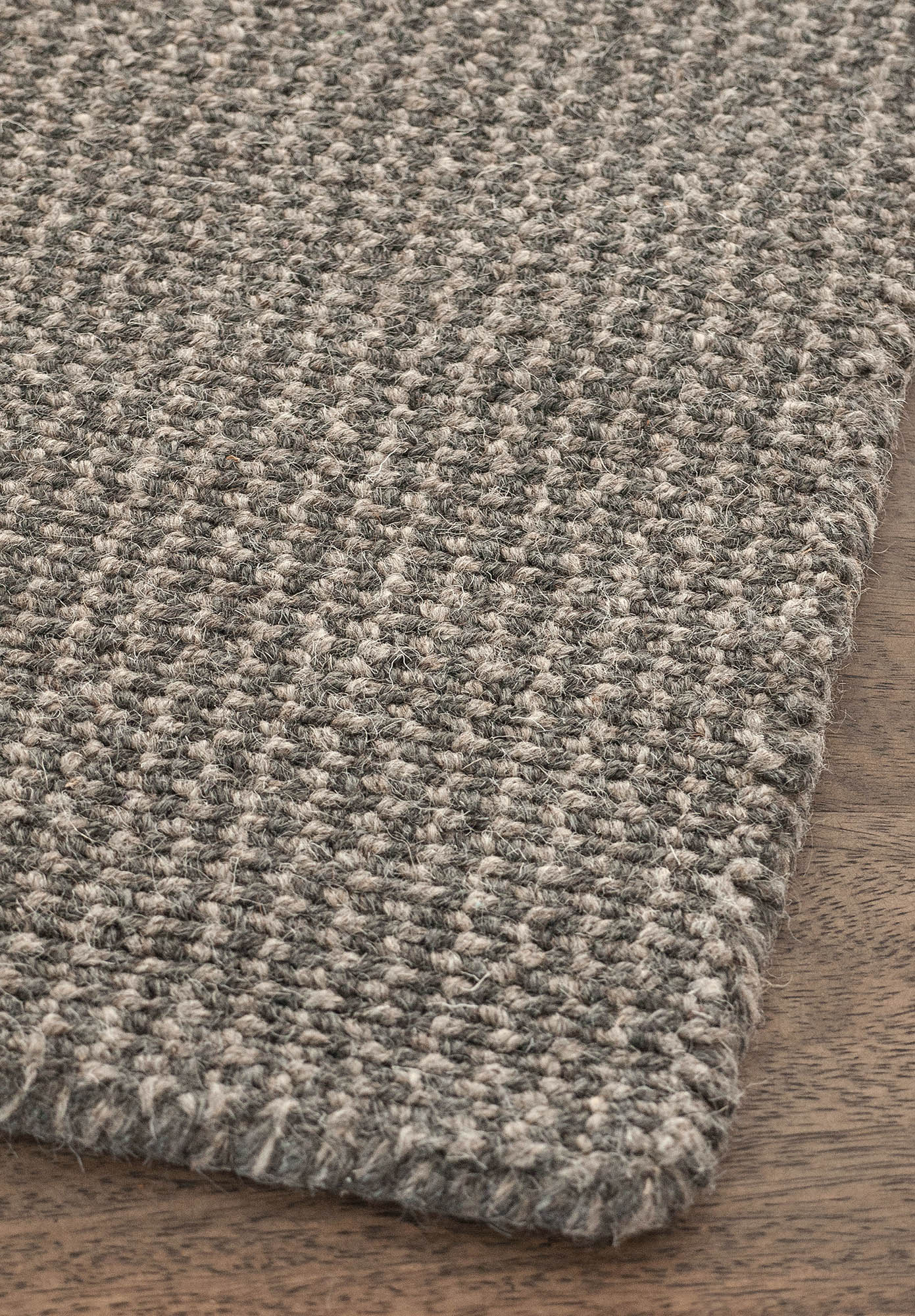 Crossweave Natural Wool Grey Loom Hooked Rug