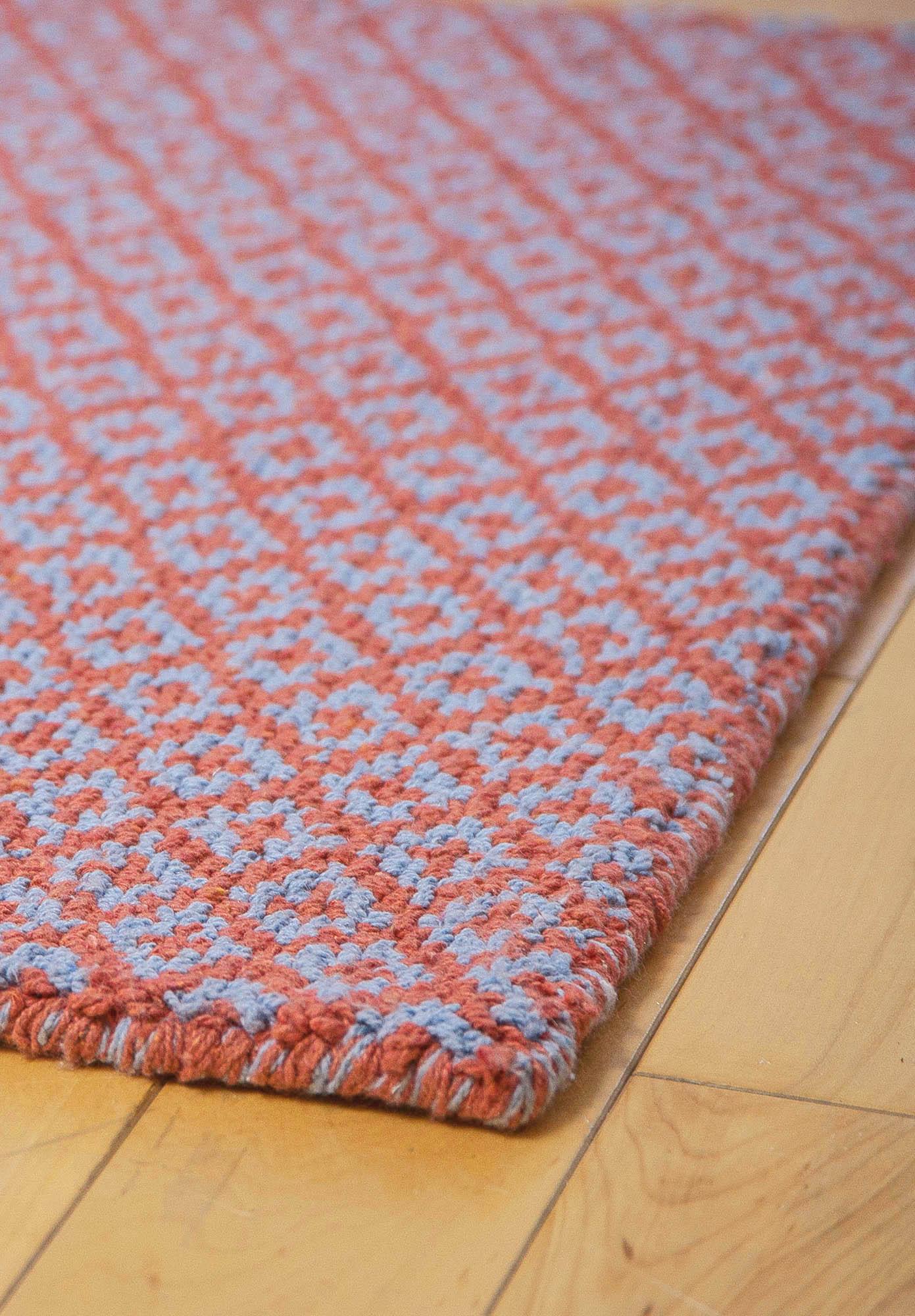 we . diamonds forever orangeblue eco cotton loomhooked rug  hook  loom