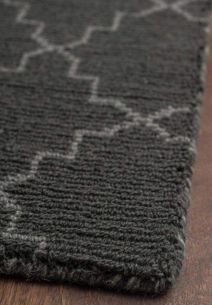 Moroccan Trellis Grey Natural Wool Loom Hooked Rug Hook