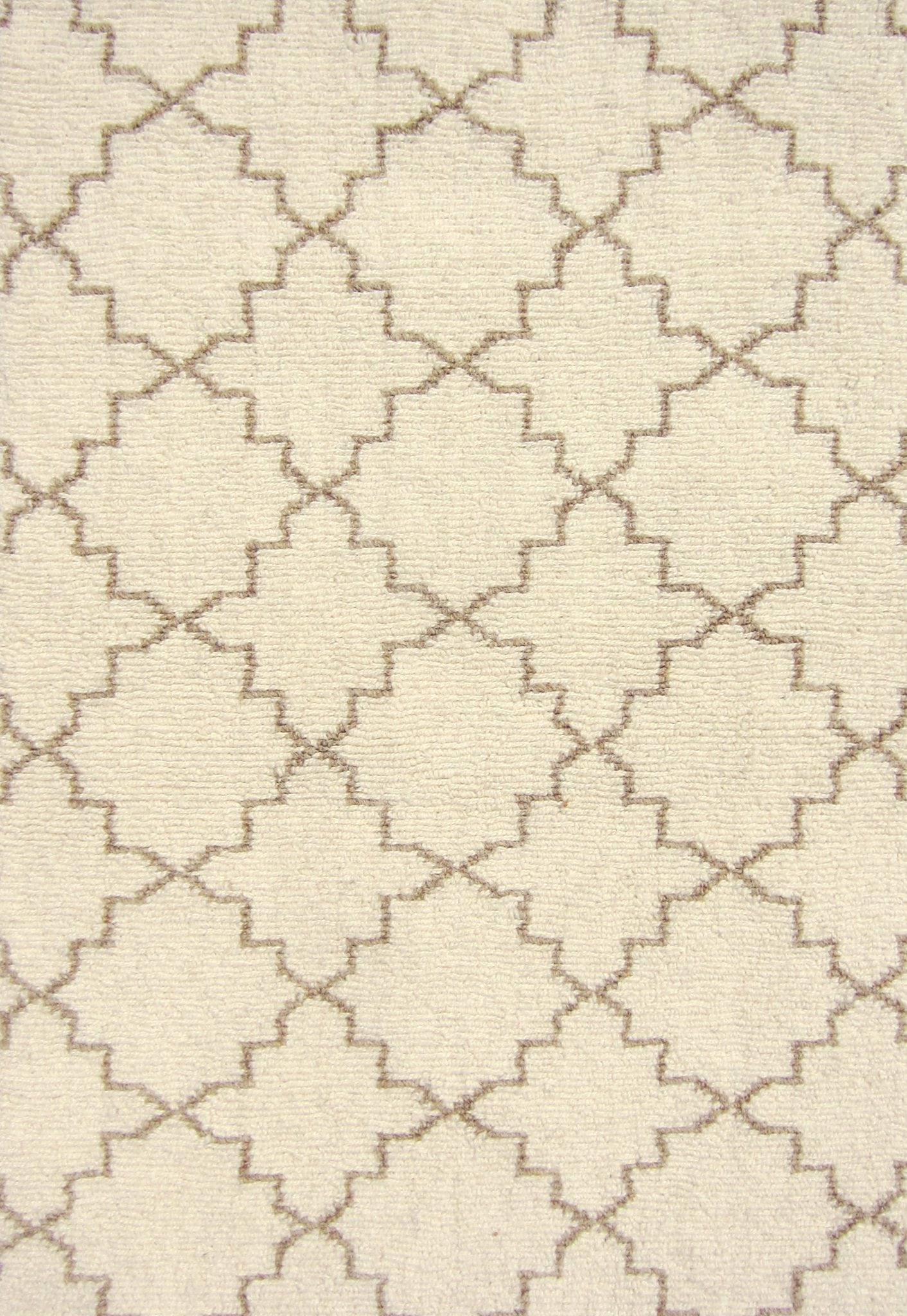 Moroccan Trellis Taupe Wool Loom Hooked Rug