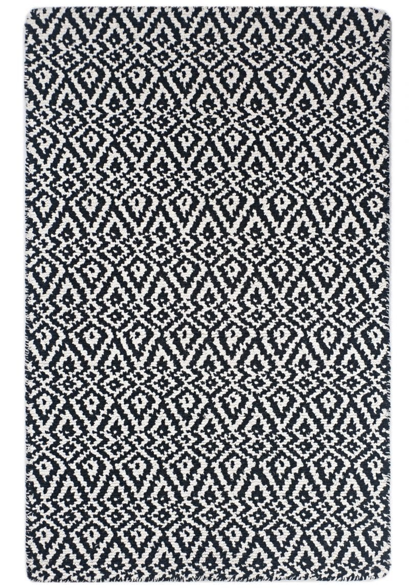 Oslo Black And White Eco Cotton Loom Hooked Rug