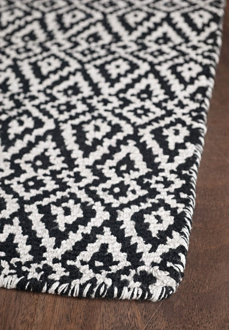 Oslo black and white eco cotton loom hooked rug hook loom - Black and white rug ...