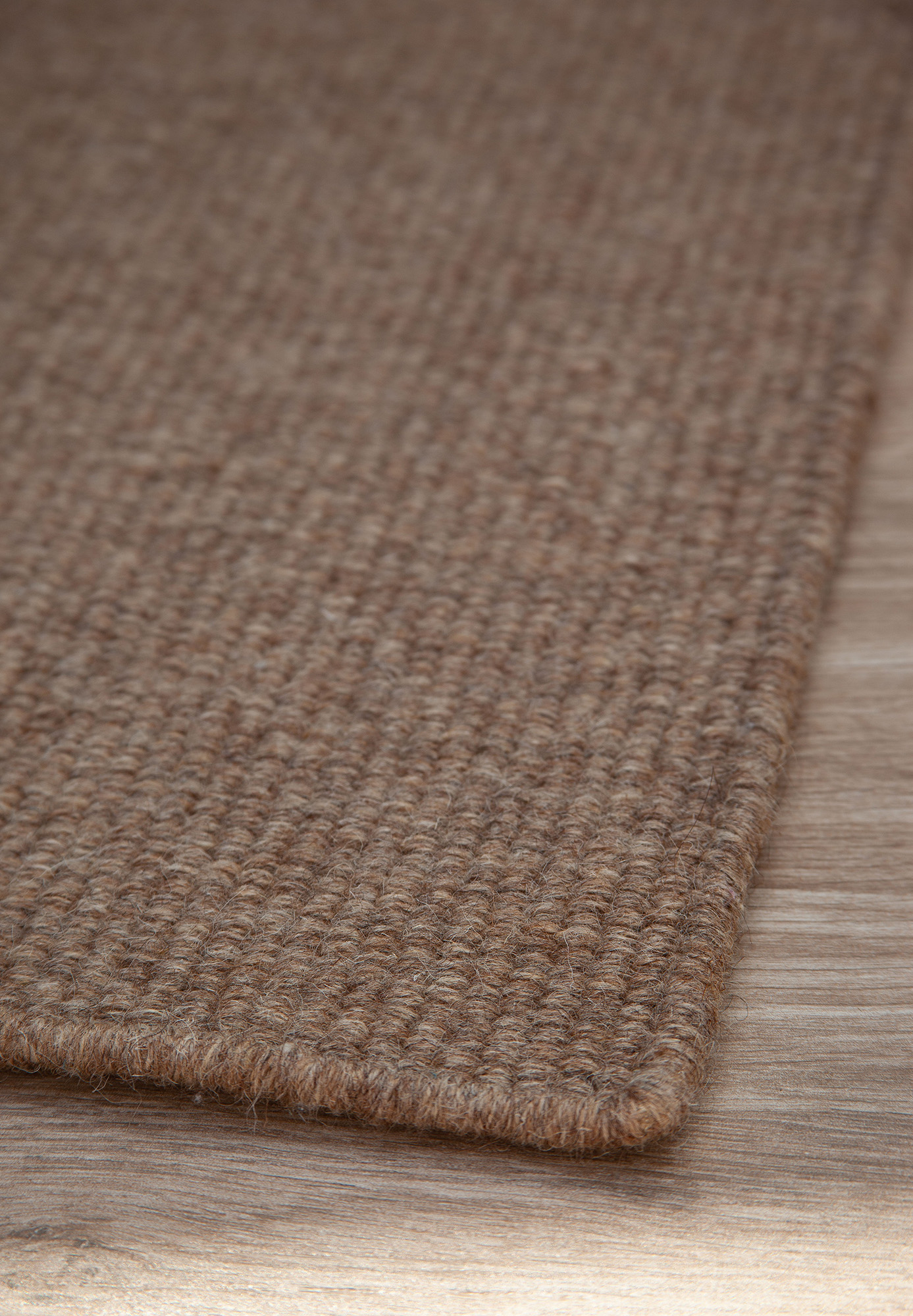 Thick Woven Wool Rug Solid Coffee Hook Loom