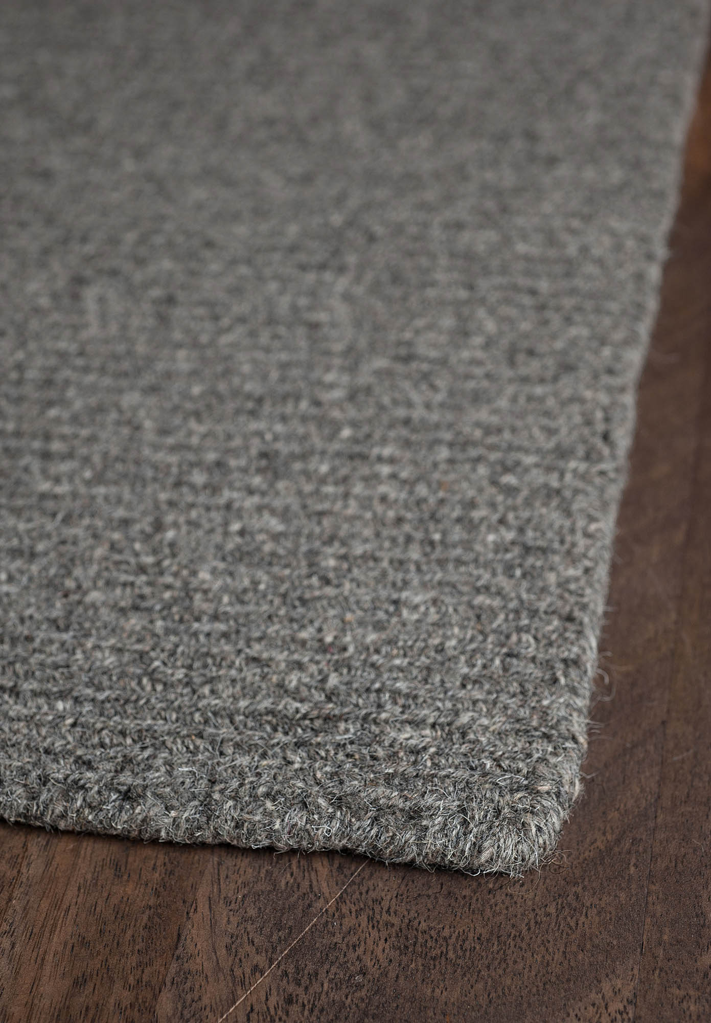 Natural Wool Loom Hooked Rug Solid Grey Hook Amp Loom