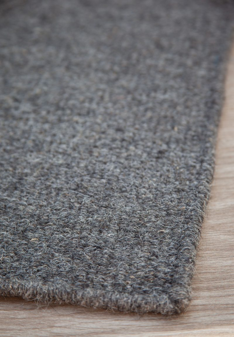 Thick Woven Wool Rug Solid Grey Hook Loom