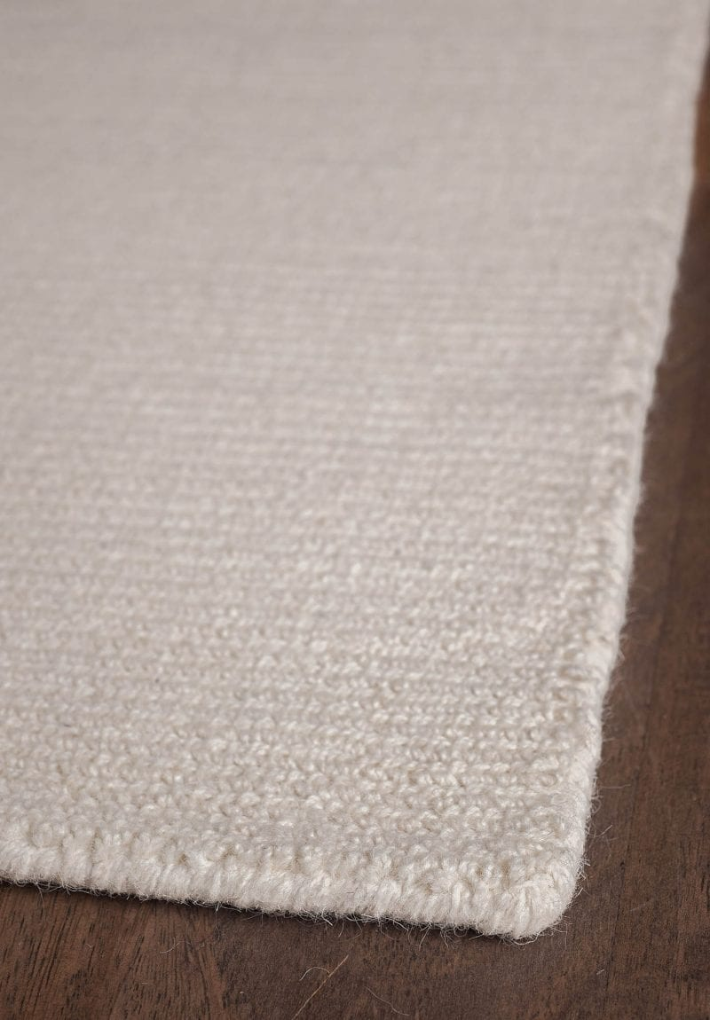 Natural Wool Loom Hooked Rug Solid