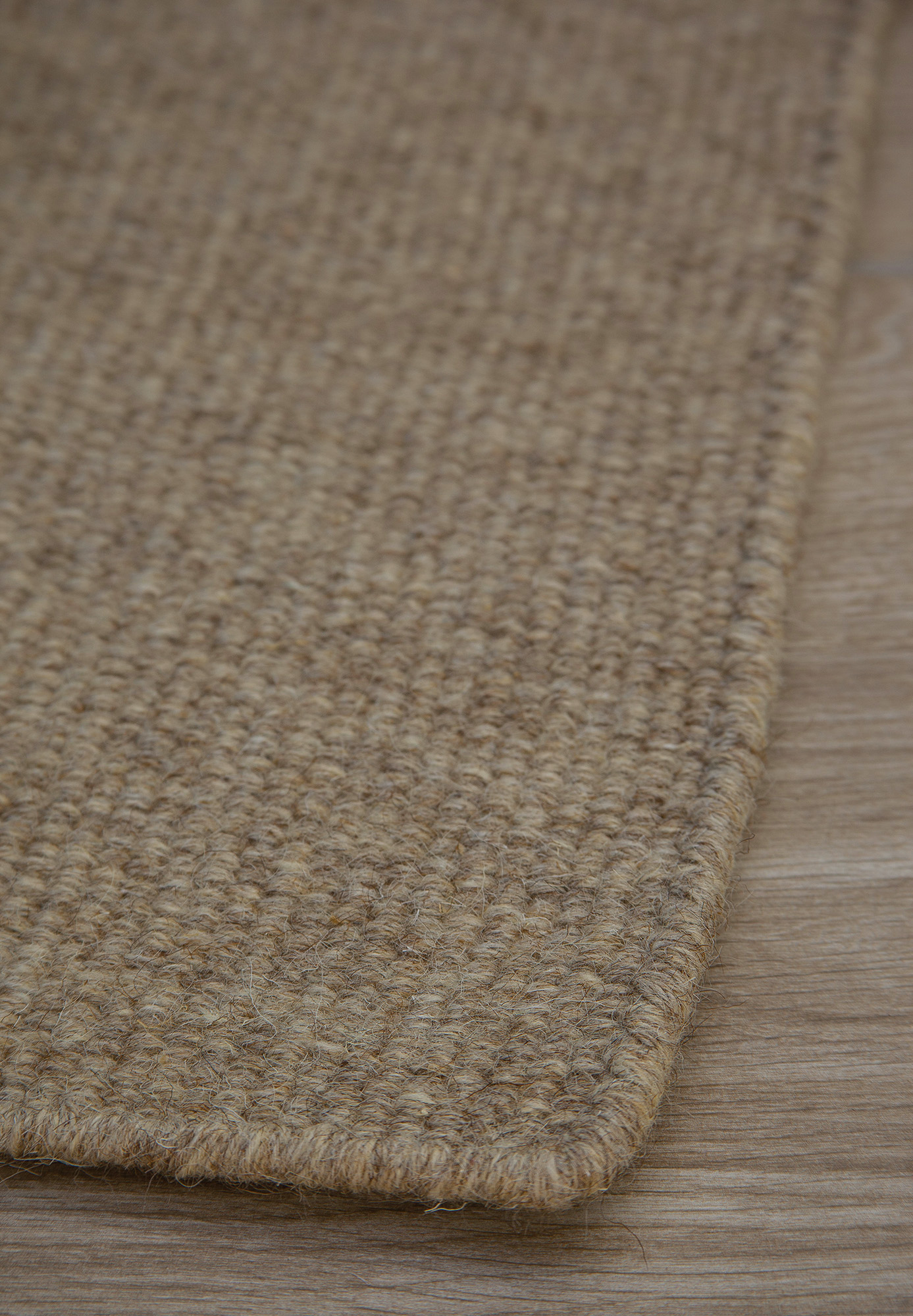 Thick Woven Wool Rug Solid Taupe