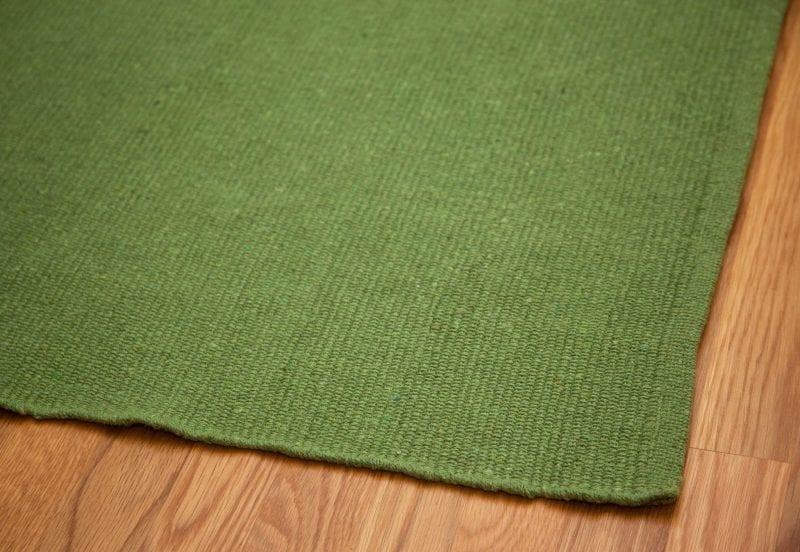 Solid Green Flatweave Eco Cotton Rug Hook Loom