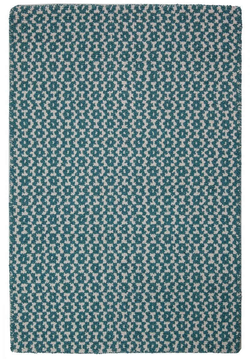Toulouse Teal Blue White Eco Cotton Loom Hooked Rug Hook Loom