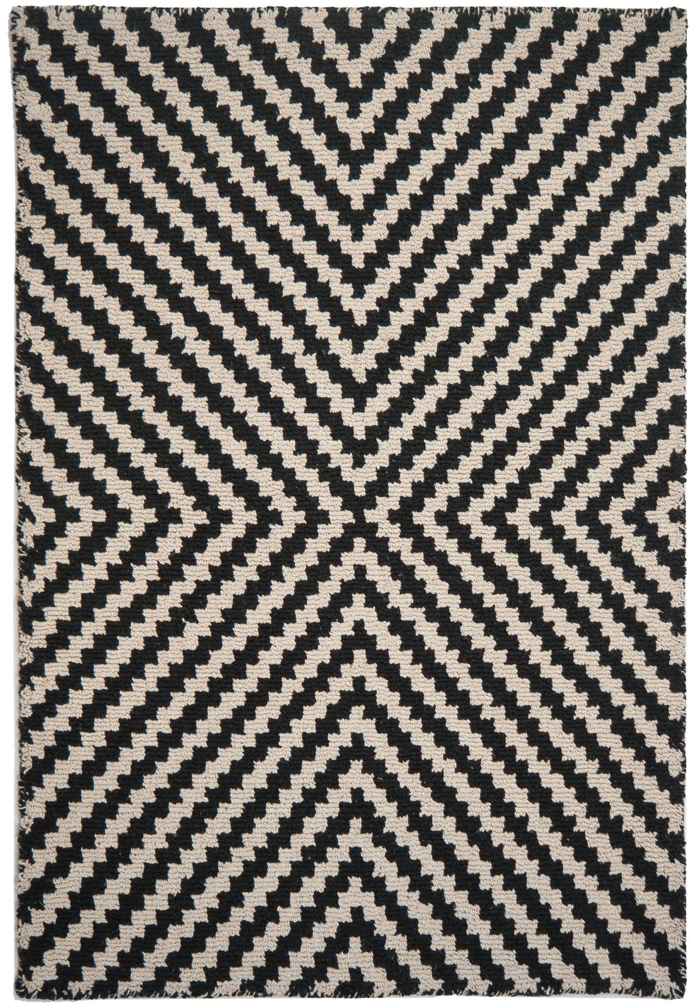 Focal Point Black/Natural Eco Cotton Loom Hooked Rug