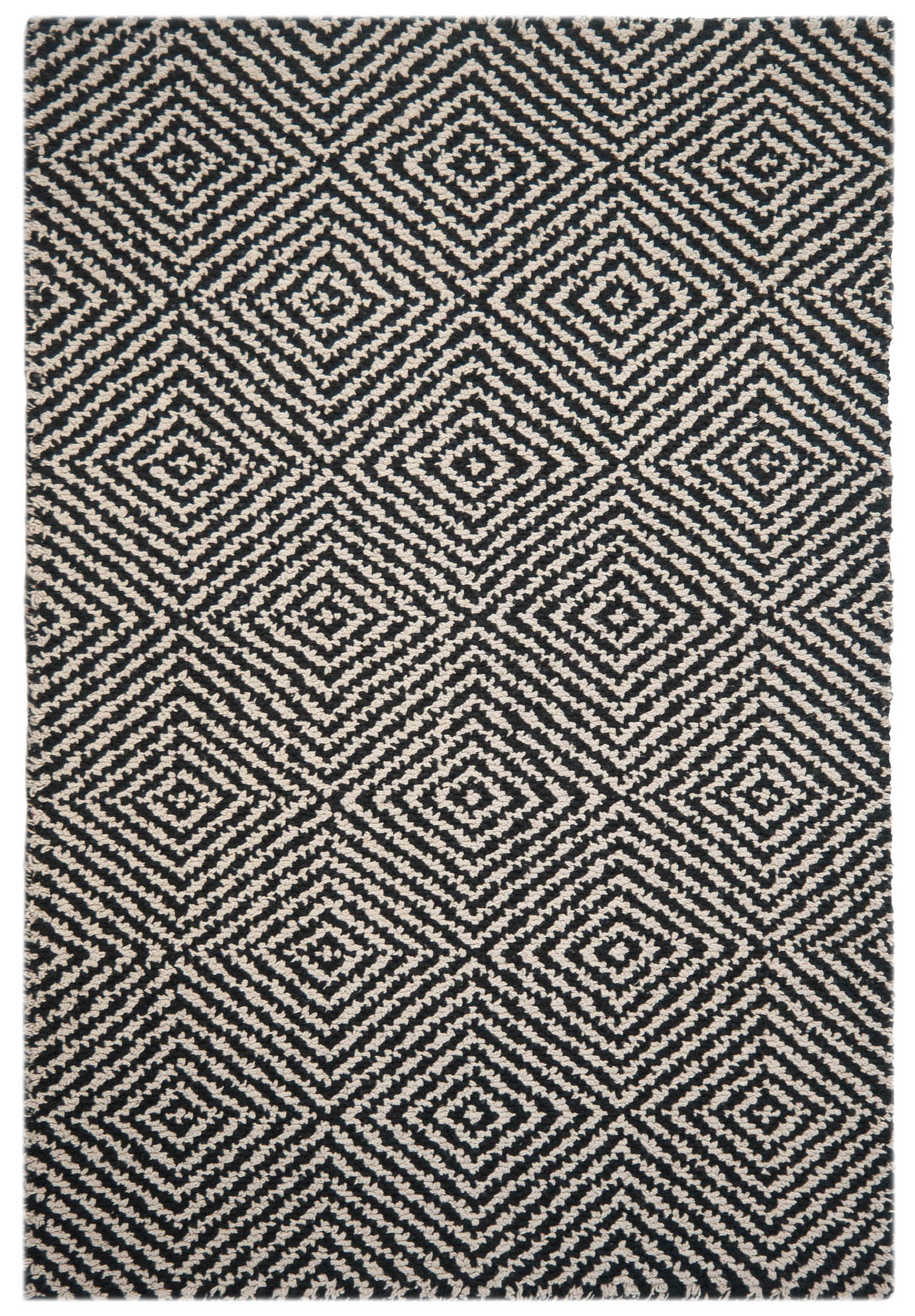 Kensington Black/Natural Eco Cotton Loom Hooked Rug