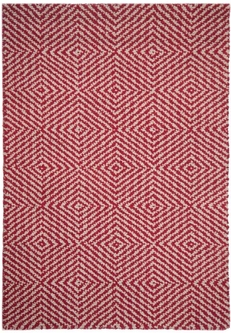 Kensington Red Natural Eco Cotton Loom Hooked Rug