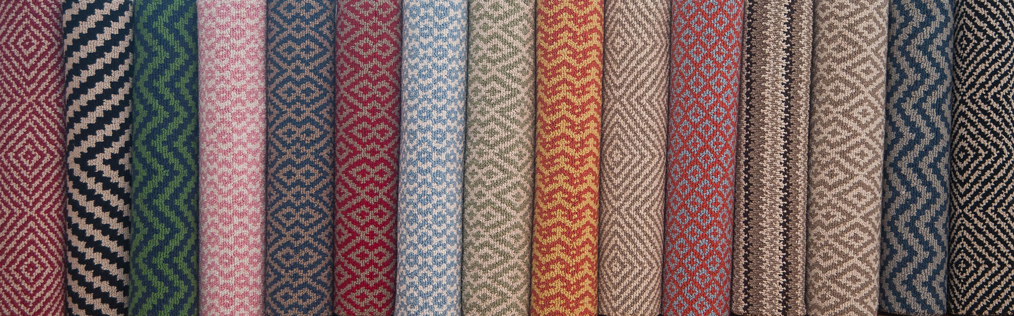 Rolls of our Eco Cotton Loom-Hooked Patterned rugs