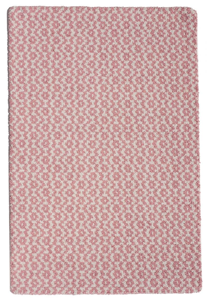 Toulouse Pink White Eco Cotton Loom Hooked Rug Hook Loom