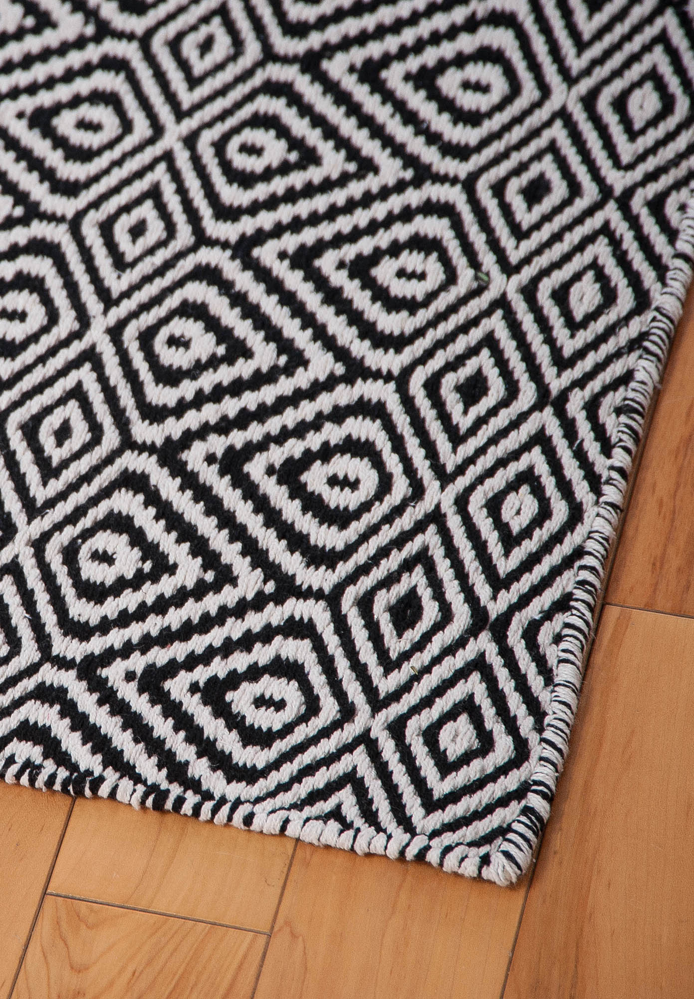 Wild Diamonds Eco Cotton Rug - Black/White - Hook & Loom
